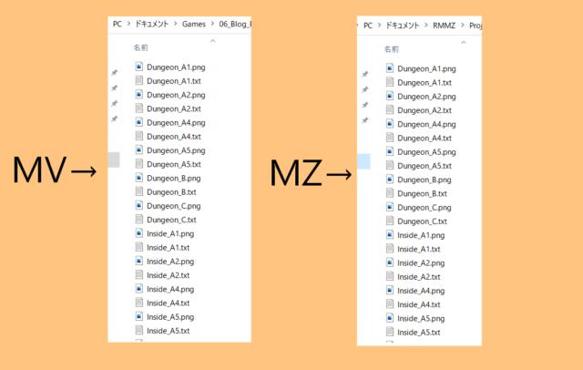 ツクール ファイル名比較